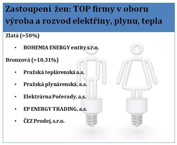 Pozn.: INDEX ŽENY VE VEDENÍ TOP 250 – sektorový žebříček v oboru výroba a rozvod elektřiny, plynu, tepla – statutární orgány celkem. Zdroj: Byznys pro společnost